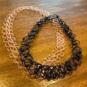 NWOT black beaded and clear pink chokers